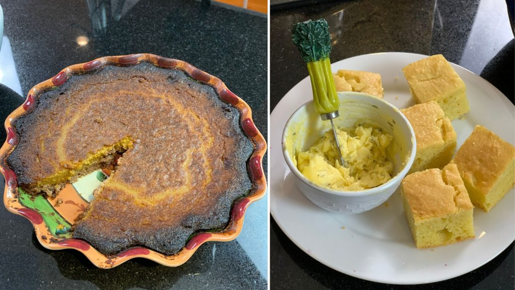 "Pecan Crusted Pumpkin Pie and Corn-free ""Cornbread"""