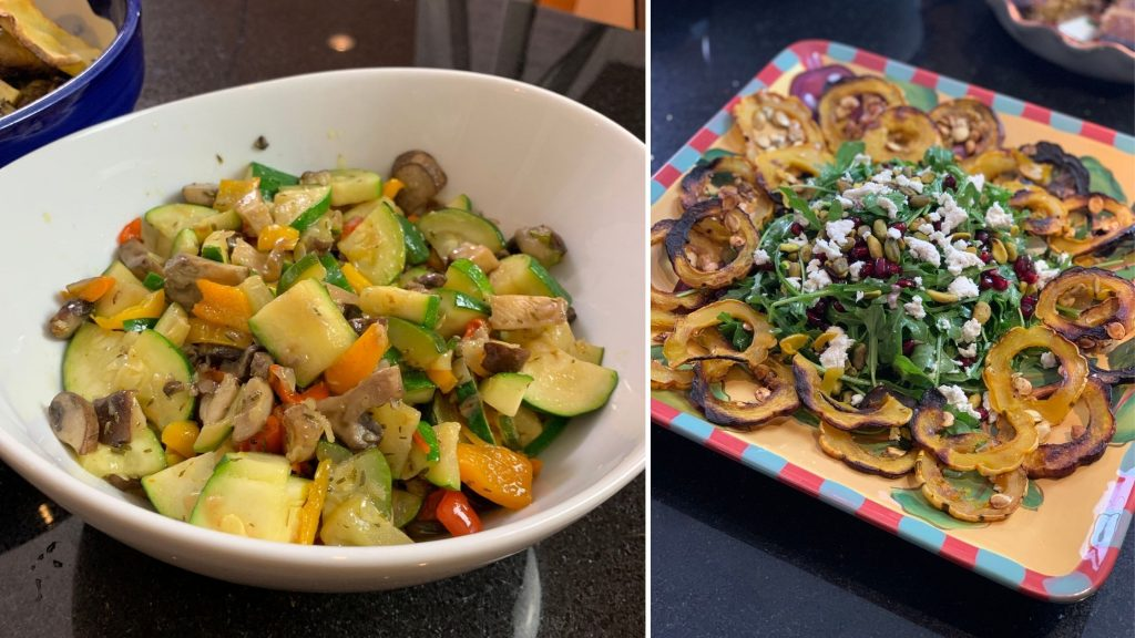 Thyme Infused Vegetable Medley and Delicata Squash Salad